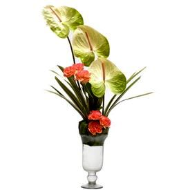 Glass Vase with Fresh Flower