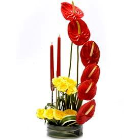 Glass Vase with Fresh Flower Arrangement 6