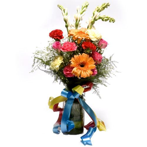 Glass Vase with Fresh Flower Arrangement 12